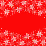 Christmas snowflakes on red festive background Royalty Free Stock Photos
