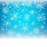 Christmas snowflakes and snowdrift on blue background. Vector illustration Royalty Free Stock Images