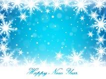 Christmas snowflakes and snowdrift. Christmas snowflakes and snowdrift on blue background. Happy New Year postcard. Vector illustration Royalty Free Stock Photos