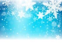 Christmas snowflakes and snowdrift. Christmas snowflakes and snowdrift on blue background. Vector illustration Royalty Free Stock Photo