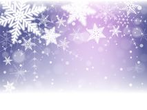 Christmas snowflakes and snowdrift. On violet background. Vector illustration Stock Photos