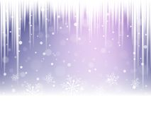 Christmas snowflakes, snowdrift and icicles. Christmas snowflakes, snowdrift and icicles on violet background. Vector illustration Stock Image