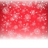 Christmas snowflakes and snowdrift on red background. Vector illustration Royalty Free Stock Photos