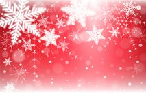 Christmas snowflakes and snowdrift. On red background. Vector illustration Royalty Free Stock Photo