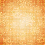 Christmas  snowflakes and stars over golden checked background, Royalty Free Stock Photos