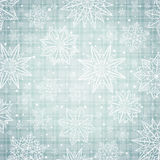 Christmas  snowflakes and stars over silver checked background, Royalty Free Stock Image