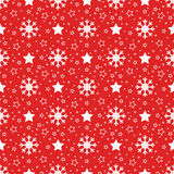 Christmas snowflakes and stars pattern Royalty Free Stock Images