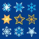Christmas snowflakes and stars. SEt of decorative Christmas snowflakes and stars. Vector available Stock Photography