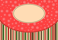 Christmas snowflakes and stripes greeting card Royalty Free Stock Images