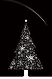 Christmas (snowflakes and tree). Star and snowflakes on the tree Royalty Free Stock Photo