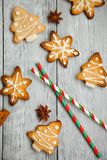 Christmas cookies on the wooden background royalty free stock photo
