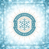Christmas snowflakes and typography label design. Vector background. Greeting card or invitation and holidays wishes Stock Images