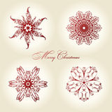Christmas snowflakes  vintage decor red Stock Photography