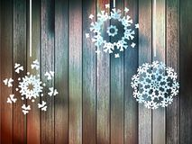 Christmas snowflakes on wood. plus EPS10 Royalty Free Stock Image