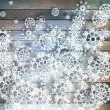 Christmas snowflakes on wood. plus EPS10 Stock Images