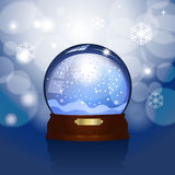 Christmas snowglobe. Realistic illustration of a snowglobe on blue winter background Royalty Free Stock Photography