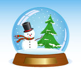 Christmas snowglobe. Realistic illustration of Snowglobe with snowman and christmas tree inside Stock Photo