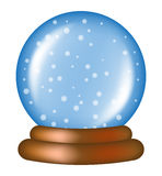 Christmas snowglobe cartoon design, icon, symbol for card. Winter transparent glass ball with the falling snow.   Stock Photography