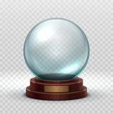 Christmas snowglobe. Crystal glass empty ball. Magic xmas holiday snow ball vector mockup isolated stock illustration