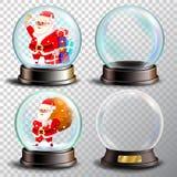 Christmas Snowglobe Set Vector. Empty Snow Globe. Winter Xmas Design Element. Glossy Dome. Magic Xmas Holiday Souvenir. Cute Santa Claus With Gifts Stock Illustration