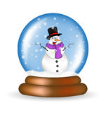 Christmas snowglobe with snowman cartoon design, icon, symbol for card. Royalty Free Stock Photography