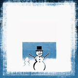 Christmas Snowman. Christmas grunge border frame with holiday snowman illustration and white copy space all in winter blue and white Stock Image