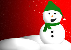 Christmas snowman. Illustration of Christmas snowman with red snowy background and copy space Royalty Free Stock Photos
