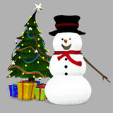 Christmas Snowman. 3d render of Christmas Snowman Stock Photos