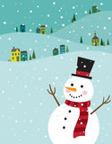 Christmas Snowman. Illustration of a snowman with winter background Royalty Free Stock Photo