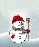 Christmas Snowman. Cute Snowman In a Winter Landscape Stock Photo