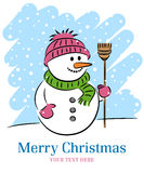 Christmas Snowman. Cute Snowman In a Winter Landscape Royalty Free Stock Photo