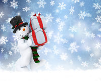 Christmas snowman. Christmas background of snowman carrying gifts Royalty Free Stock Photos
