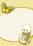 Christmas snowman. Merry Christmas golden snowman background stock illustration
