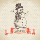 Christmas snowman. Hand drawn illustration Stock Photos