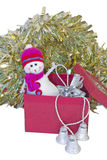 Christmas snowman. Figure of merry Christmas snowman isolated Royalty Free Stock Images