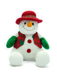 Christmas snowman. Cuddly christmas snowman with red hat and colourful waistcoat Stock Photography