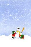 Christmas snowman. Hand painting of Children making a snowman at Christmas Royalty Free Stock Photo