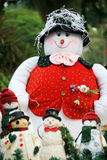 Christmas snowman. Family of christmas snowman outside Stock Photo