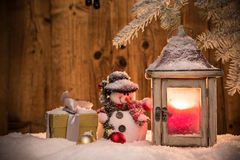 Christmas snowman on abstract background Royalty Free Stock Image