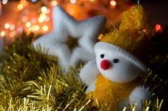 Christmas Snowman And Star Stock Photo