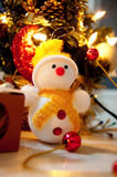 Christmas Snowman And Tree Royalty Free Stock Photo