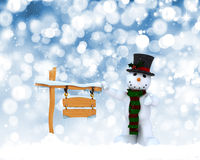 Christmas snowman background. Christmas background with snowman and snowy wooden sign Royalty Free Stock Photos