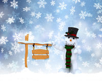 Christmas snowman background. Christmas background with snowman and snowy wooden sign Royalty Free Stock Photo