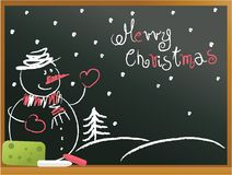 Christmas snowman background. Christmas blackboard background with snowman Stock Photography