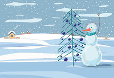 Christmas snowman. Snowman on the background of a winter landscape with a Christmas tree in hand Royalty Free Stock Photography