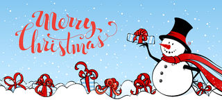 Christmas snowman banner. Royalty Free Stock Images