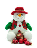 Christmas snowman with baubles. Stock Photos