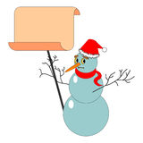A Christmas snowman with a big blank paper Stock Images
