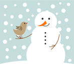 Christmas snowman and bird stock illustration
