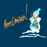 Christmas snowman on a blue background. Snowman made of snow, Christmas on the blue background, vector illustration Stock Images